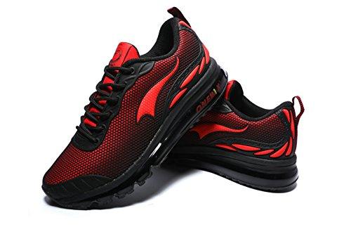 Onemix Uomini Air Cushion Scarpe Running Uomo Maglia Ginnastica Sportive Outdoor Sneakers Palestra Tennis Scarpe da Corsa nero rosso