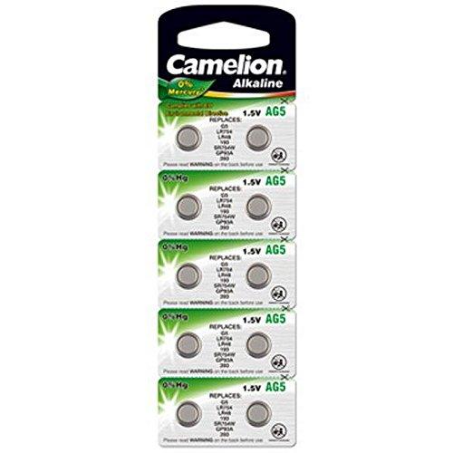 10 Stk. (1 Blister) Camelion 0%HG Alkaline 1,5V Knopfzellen Uhren-Batterien AG5, 193, 393, SR48, SR754, LR754