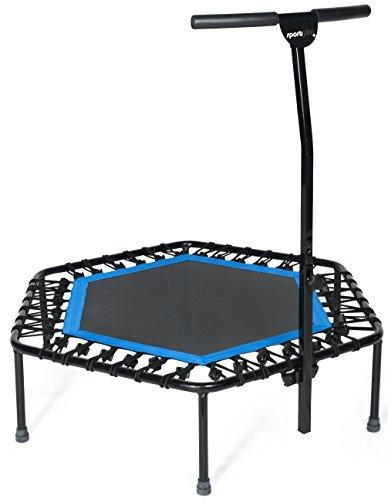 SportPlus Fitness Trampolin mit Griff & Bungee-Seilsystem • Höhenverstellbarer Haltegriff • Inklusive Randabdeckung • Ø 110cm • Indoor Trampolin • Fitnesstrampolin für zuhause • TÜV-geprüft