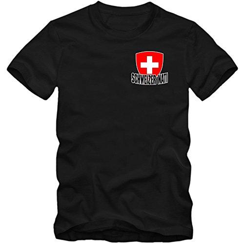 Schweiz EM 2016 #5 T-Shirt | Fußball | Herren | Trikot | Schweizer pati | Nationalmannschaft © Shirt Happenz Schwarz (Deep Black L190)