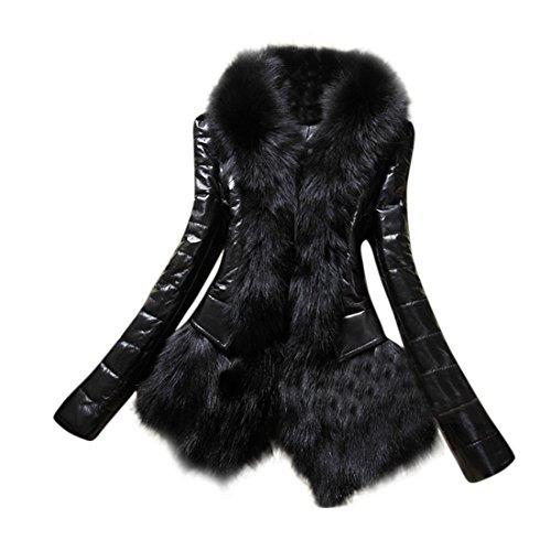 Damen Mantel,FRIENDGG Frauen Mädchen Designer Warm Faux Pelzkragen Leder Dicke Langarm Herbst Winter Jacke Feste Dünne Elegante Mantel Mode Lässig Täglichen Parka Outwear (Schwarz, M)