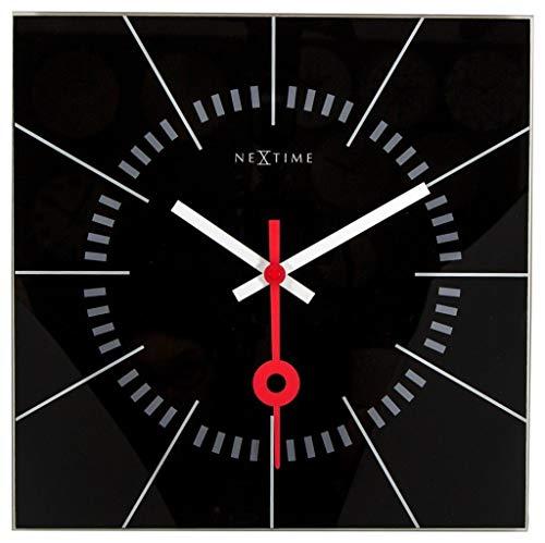 """NeXtime Wanduhr """"STAZIONE"""", lautlos, quadratisch, aus Glas, Schwarz, 35 x 35 cm"""