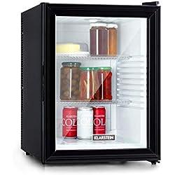 Klarstein Brooklyn 42 Minibar Mini réfrigérateur - compact, système de refroidissement thermoélectrique, capacité 42L, refroidissement: 12-18 °C | CEE A, SilentCool System, intérieur blanc, noir