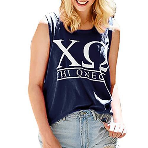 LuckyGirls_Chalecos de mujer Estampado de Letra Alfabética Sin Mangas Camisola Sexy Camisetas Remeras Casual Deportivas Blusa Vest Tallas Grandes S-5XL (XXXXL,Azul)