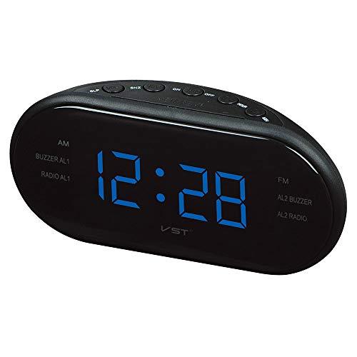 FOWYJ LED Wecker, AM/FM Radio Desktop Elektronische Digital Snooze Function Clock,Blue,EU