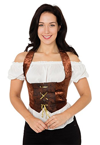 Bristol Novelty AC632 Velvet Corset Costume, Brown, Size 10 - 14 steampunk buy now online