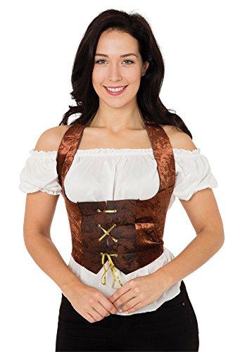 Korsett Piraten Kostüm - Bristol Novelty AC632 Korsett in Samt Kostüm, Braun