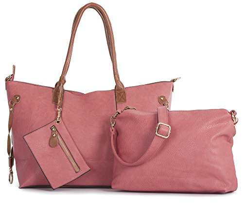 d2337af4a Big Handbag Shop Womens Top Zip Opening 3 in 1 Tote Shopper Long Strap and  Make