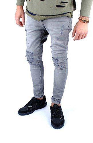 FiveSix Herren Skinny-Fit Used-Look Denim Destroyed-Look Anti-Fit Zerrissen Biker Jeans Hose Grau-2