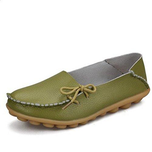 Miagolio Donna Scarpe Stringate Basse Mocassino Flats In Pelle Morbide Casuale Di Vari Colori Tglia 34-43 Verde