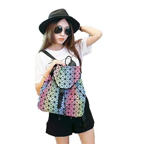 Leuchtende Frauen Rucksäcke Weibliches Mädchen Täglich Rucksack Weibliche Geometrie Paket Falten Taschen Schultasche Für Mädchen Rainbow Luminous