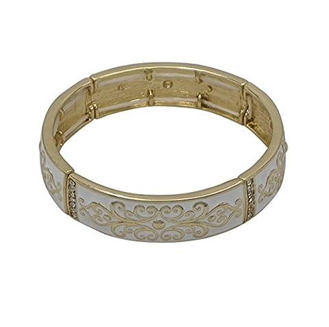 Rosemarie Kollektionen Damen weiß Emaille Stretch Armreif Armband (Fashion Stretchable Armband)