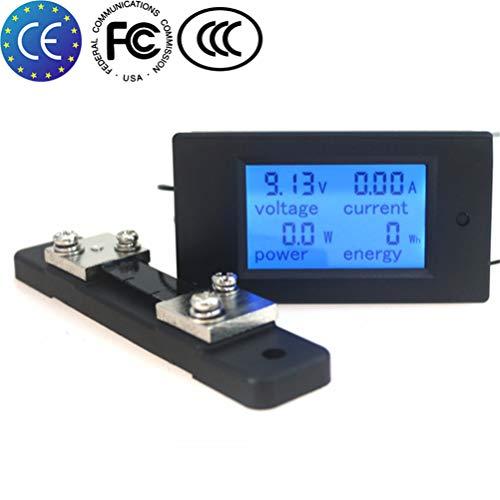 KETOTEK Ammeter Voltage Spannung Meter Shunt Leistungstester Energiezähler Digital DC 6,5-100 V 100A Voltmeter Volt Ampere Multimeter LCD Spannungsprüfer (Multimeter+50A/75mV shunt) Lcd-voltmeter