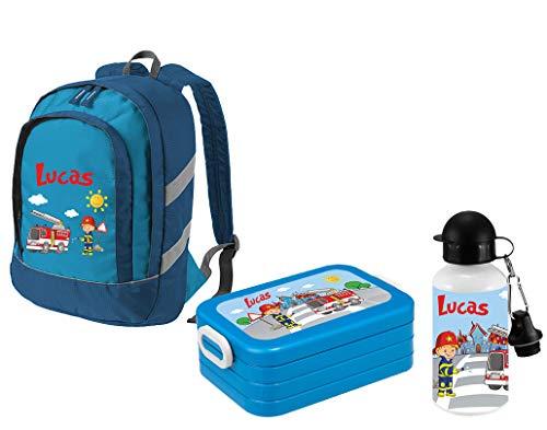 *Mein Zwergenland Set 3 Kindergartenrucksack Bicolor + Brotdose Lunchbox Maxi und Alu-Trinkflasche mit Namen, 3-teilig, Feuerwehr, Blau*