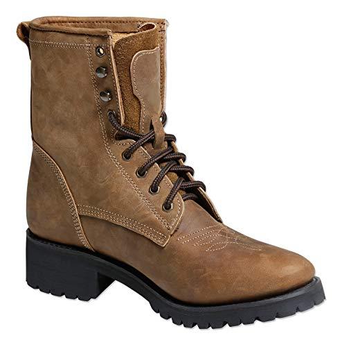 Braun Rindsleder Western-boot (Westernstiefel Leder Western-Boots Cowboystiefel Stars & Stripes WB34 Braun WB35 Schwarz (43, Braun))
