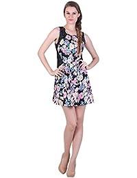 Bonhomie Women Black Multi Flower Power Lace Insert Mini Dress
