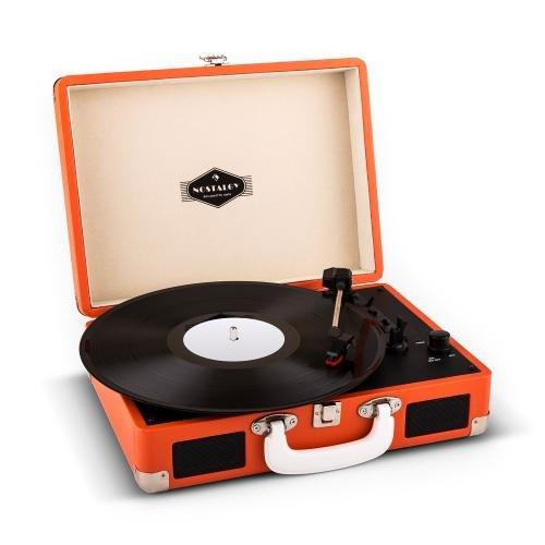 auna Peggy Sue - Retro Plattenspieler, Schallplattenspieler, Riemenantrieb, Stereo-Lautsprecher, USB-Midi-Port, Abspielen und Digitalisieren, Line-Out, transportabel, Tragegriff, orange