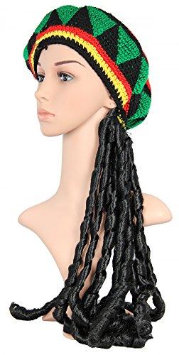 Foxxeo 35121 | schwarze Rasta Perücke mit bunter Häkelmütze (Kostüm Kinder Jamaika)