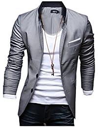 Chaqueta de hombres - TOOGOO(R) Hombres Delgada Chaqueta Blazer Abrigo Vestido - Gris,XL