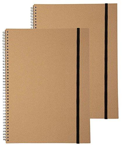 Spirale, Einband 2er Pack Spirale Notebook mit Gummiband Verschluss, blanko Papier Notebooks für Foto Scrapbook Album, Büro und Schule, Arztausstattung, je 20Blatt, 24,1x 33cm (Papier-verschluss)