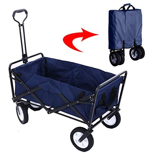 Acyon Bollerwagen Faltbarer Handwagen Transportwagen Gartenkarre Faltwagen für Outdoor/Festivals/Camping, bis 80 kg belastbar, 360 ° drehbar,Blau