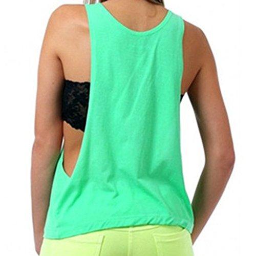 Highdas Estate Blusas donne sexy casuale della maglia senza maniche aperto laterali canotte Mela verde