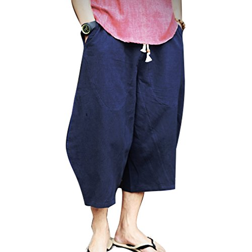 JiXuan Man Linen Cropped Cross Pant Trouser Männer Casual Weitbeinige Bloomers Männer Traditional Nepal Trousers Tweed Cropped Pants