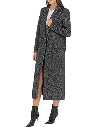 IMPERIAL FASHION Cappotto Lungo Donna col. Nero Bianco tg. L Made in Italy f1bdb15086dc