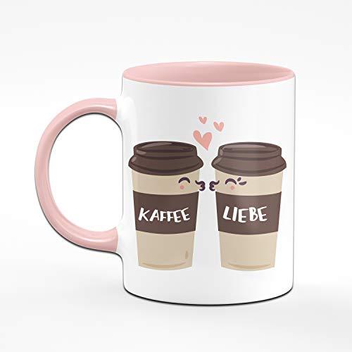 Tassenbrennerei Tasse mit Spruch Kaffee Liebe - Süße Kaffeetasse ALS Bürotasse, Geschenk für Kollegin Tassen mit Sprüchen (Rosa) - 2