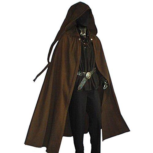 Kostüme Vampir Gothic Girls (Mittelalter Zipfelcape, Cape, Gothic Umhang, Vampir, Larp Mantel 48-56 Dunkelbraun 5011, Braun, 50)
