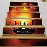 6 Teile / Satz 3D Selbstklebende Muslimischen Heiligen Monat Treppen Wandaufkleber Kreative Dekorative Abziehbilder DIY Kunst Removable Treppen PVC Wasserdichte Tapete Für Wohnzimmer Dekoration