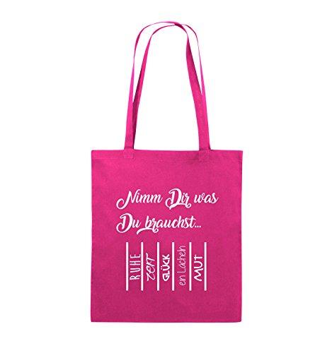 Comedy Bags - Nimm Dir was Du brauchst - ABREIßZETTEL - Jutebeutel - lange Henkel - 38x42cm - Farbe: Schwarz / Silber Pink / Weiss