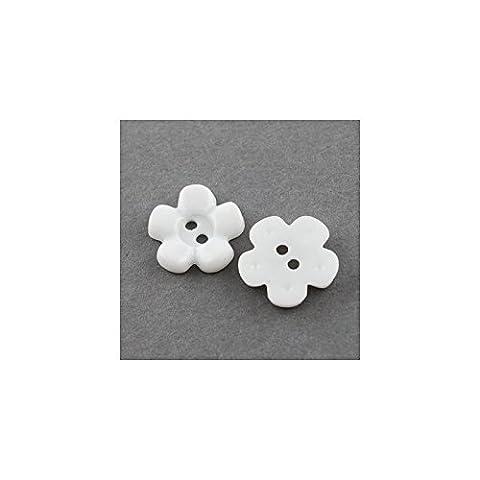 Bouton en forme de Fleur en Acrylique avec 2 trous
