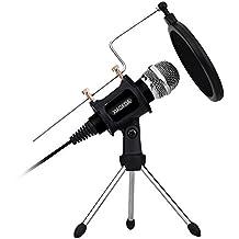 XIAOKOA PC Microfono a condensatore, Set microfoni per Computer laptop PC iphone, Includere lettore microfono da tavolo con filtro acustico a doppio strato per registrazione, podcasting, chat in linea come Facebook, MSN, Skype, con cavo audio (M3)