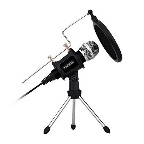 XIAOKOA PC und Telefon Kondensator-Mikrofone, erhalten Desktop-Mikrofon Stand- und Dual-Layer-Akustikfilter für Recording, Podcasting, Online Chatten wie Facebook, MSN, Skype, mit Audiokabel (Schwarz)