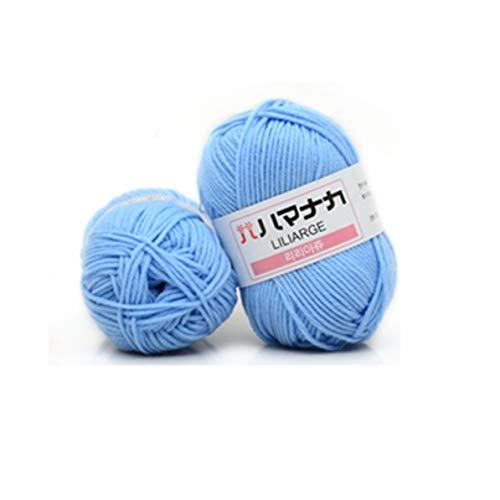 Weiweitoe 4 parti filato di cotone pettinato filato confortevole lana misto filato abbigliamento cucito filato maglieria a mano sciarpa cappello filato, azzurro,