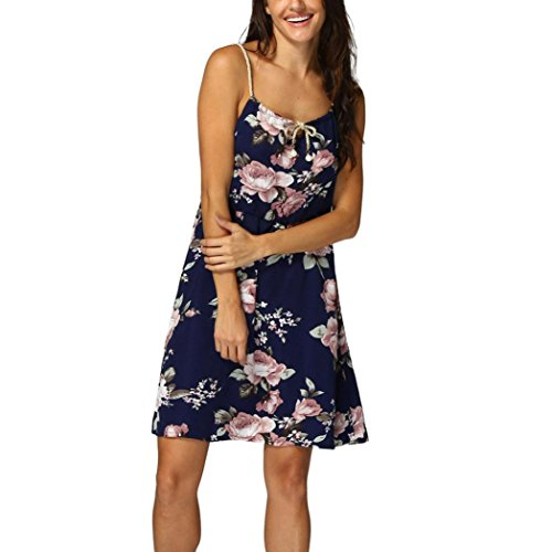 Kleid Damen,Binggong Frauen Blumenkleid Spaghetti Strap Sammeln Taille A-Linie Sommer Minikleid Sommerkleider Mode Hosenträger Kleid Abendkleider Damen (L, Dunkelblau)