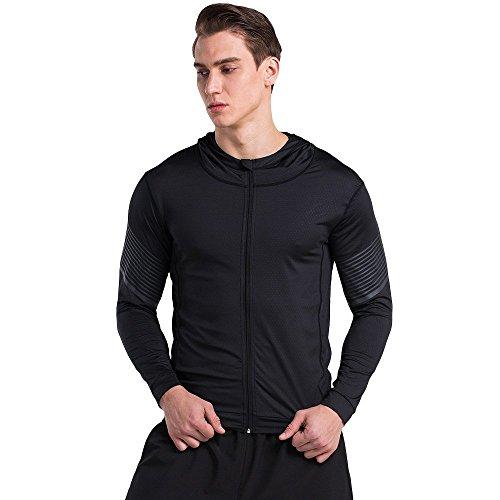Felpa da uomo slim fit manica lunga con cappuccio e zip intera, leggero per running, uomo, black+grey, l