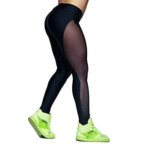 Bluestercool Frauen Fitness/Workout Leggings Patchwork Leggings Skinny hohe Taille Push-Up Hose (Black,