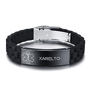 Vnox Personalisierte Benutzerdefinierte Medical Alert Edelstahl ID Tag Schwarz Silikonkautschuk Einstellbar Armband Für Männer,XARELTO