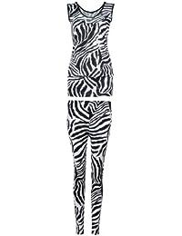 NEW LADIES ZEBRA PRINT LONG VEST TOP WITH ZEBRA PRINT LEGGING FULL SET BLACK&WHITE DRESS