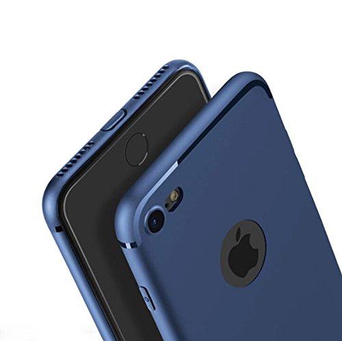 [PfX] Blau matte Hülle kompatibel mit iPhone 7 Special-Edition TPU Silikonhülle (4,7 Zoll) mit integriertem Staubschutz Ultra-Slim (Blue-Line)