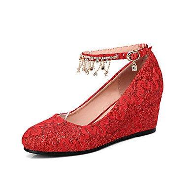 LYNXL Talloni delle donne Primavera Estate Autunno Wedding sintetica Party & Sera Casual Zeppa Fiore Rosso Bianco Red