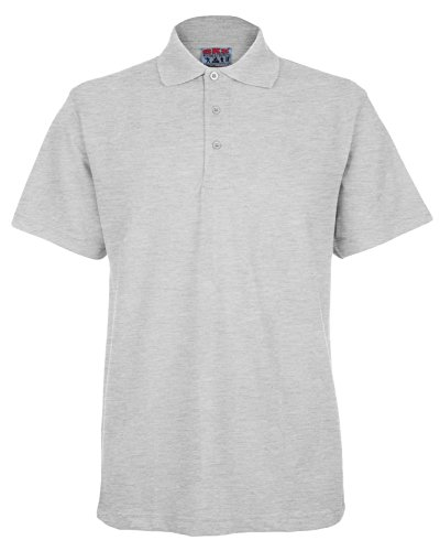 Mens Active Pique Polo T Shirt Size S to 4XL By BKS - SPORTS WORK LEISURE (XXXL-3XL, Heather Grey)