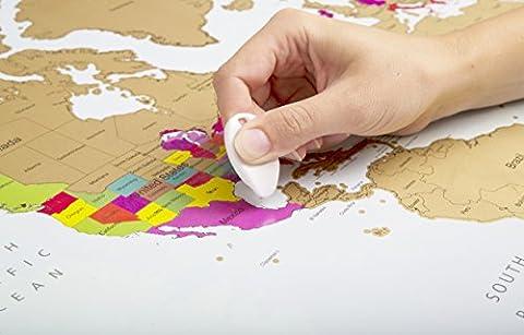 Globe Quest Maps Carte du monde à gratter pour faire apparaître les pays visités en couleur – Cadeau idéal pour les voyageurs – Édition de luxe 60 x 90 cm