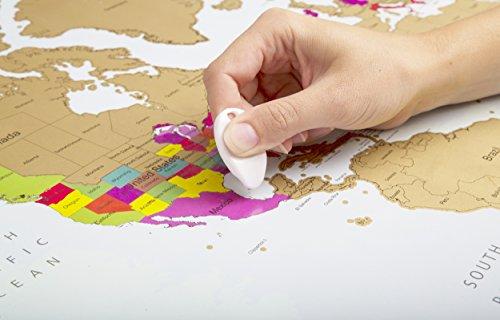 Poster del mundo para rascar | Mapamundi | Colores vibrantes y textos en negrita | Regalo para viajeros | Edición deluxe 60 cm (alto) x 90 cm (ancho)