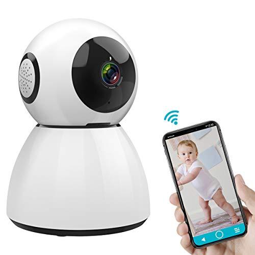 ÜberwachungsKamera 1080P HD 2 Megapixel, SAWAKE WLAN IP Kamera mit Nachtsicht/ 2 Wege Audio/Bewegungserkennung/Fernalarm (355 ° Pfanne, 50 ° Neigung, Unterstützt 128G SD-Karte, 3,6 mm/ 300W Linse)