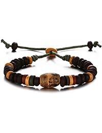 Vnox Hombres de las mujeres de cerámica de cuentas Strand Rope cuero pulsera de pulsera ajustable con encanto Fishbone