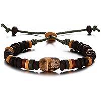 Vnox Bracciale Banda regolabile delle donne degli uomini perline di ceramica Strand corda in pelle con Wishbone Charm
