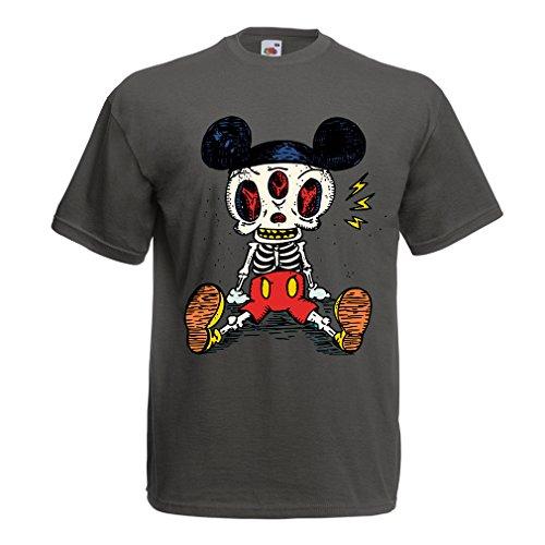 Männer T-Shirt Skelett Einer Maus (XXX-Large Graphit Mehrfarben)